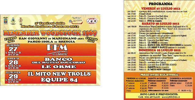 Remember WOODSTOCK 1969: 27- 28- 29 Luglio 2012 San Giovanni in Marignano