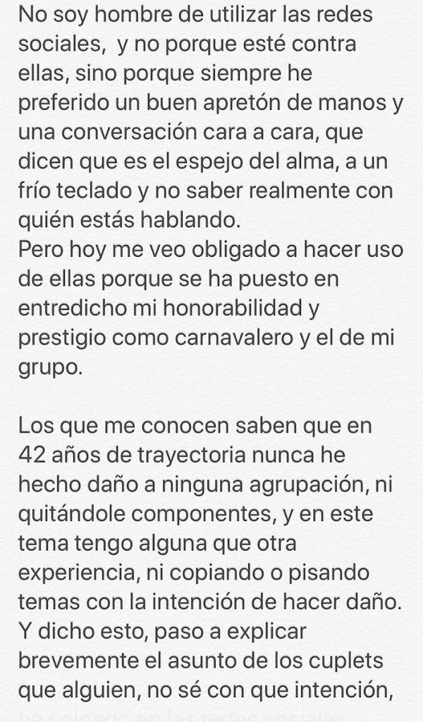 """Comunicado de Rafael Mosquera """"Faly"""" Mosquera"""