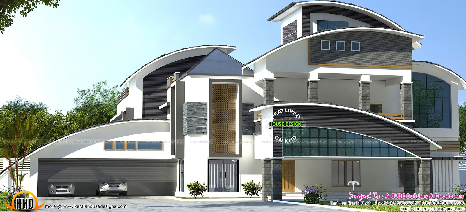 Gandul luxury curved roof home architecture for Curved roof house designs