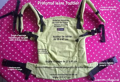 isara toddler ssc anis préformé test avis review tissu écharpe portage babywearing récapitulatif dimensions tablier