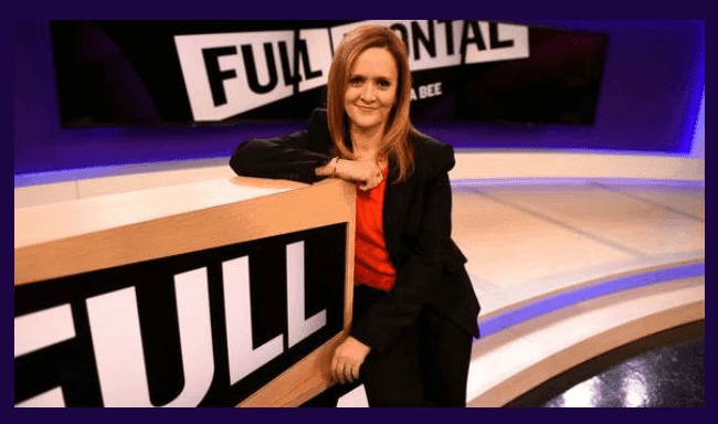 "Samantha Bee on the set of her new TBS show, ""Full Frontal with Samantha Bee."""