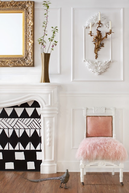 Interiors Decor - Parisian Inspired Office - style me pretty -moldings - sconces