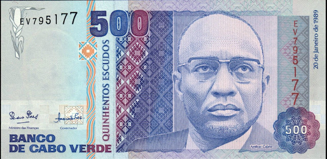 Currency of Cape Verde 500 Escudos banknote 1989 Amilcar Cabral