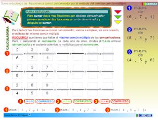 http://www3.gobiernodecanarias.org/medusa/eltanquematematico/todo_mate/fracciones_e/ejercicios/suma_mcm_p.html