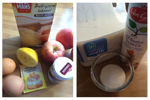 ingrediënten ronde appelcake met citroen