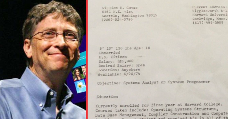 see what was in bill gates r u00e9sum u00e9 before turning into a