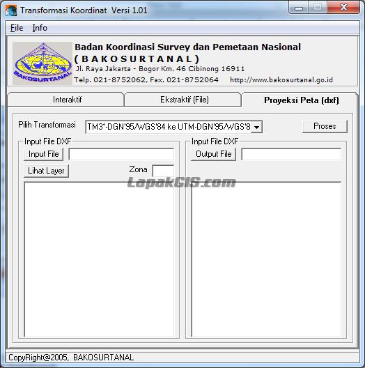 Program Bantu Konverter Koordinat UTM <> CGS <> TM3 dari BAKOSURTANAL