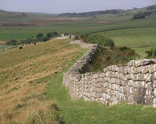 Hadrian's wall just east of Cawfields quarry, Northumberland