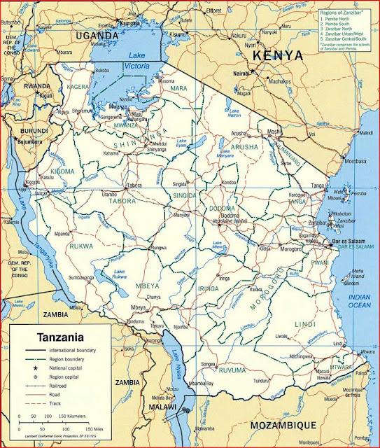Gambar Peta politik Tanzania