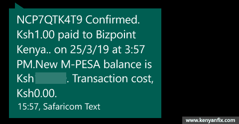 m-pesa confirmation sms