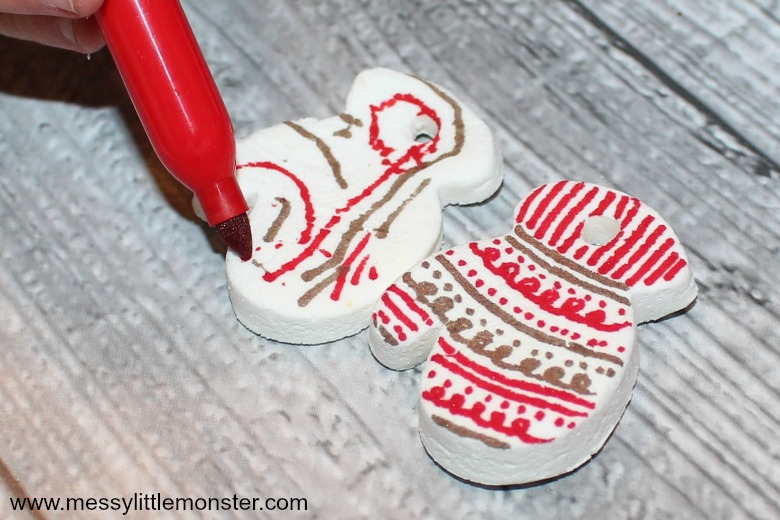 Homemade white clay ornaments that you can draw on using sharpie markers
