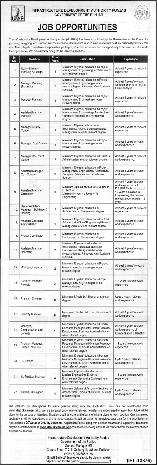 Jobs in Infrastructure Development Authority Punjab  Oct 2017