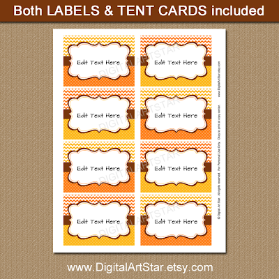 chevron Thanksgiving labels in orange and yellow