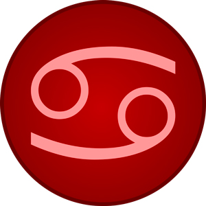 Imagen del signo del zodiaco Cáncer dentro de un circulo rojo