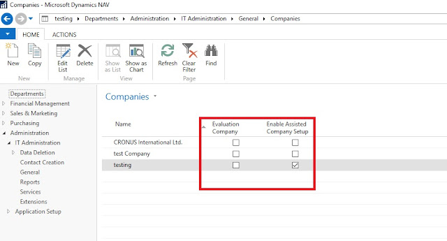 Companies Page in Dynamics NAV 2017