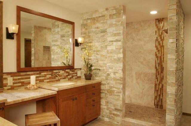 kamar mandi kecil modern minimalis batu alam