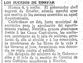 Seguimiento en el periódico ABC del Motín de Binéfar de 1916