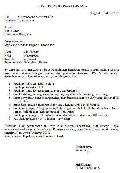 Surat Permohonan Beasiswa Kuliah Mahasiswa