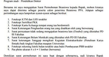 contoh surat permohonan beasiswa ppa mahasiswa kus kuliah universitas brawijaya