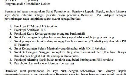 Contoh Surat Permohonan Beasiswa Ppa Mahasiswa Kampus Kuliah
