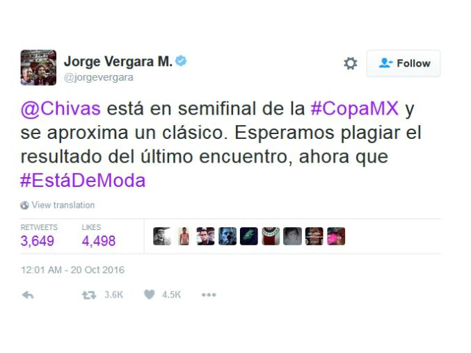 El 'tuit' de Jorge Vergara.