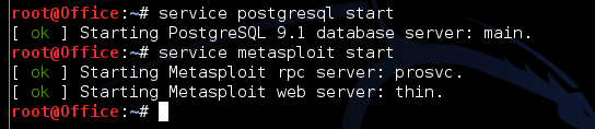 Starting the postgresql and metasploit services