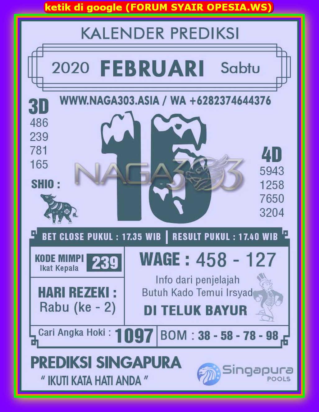 Kode syair Singapore Sabtu 15 Februari 2020 65