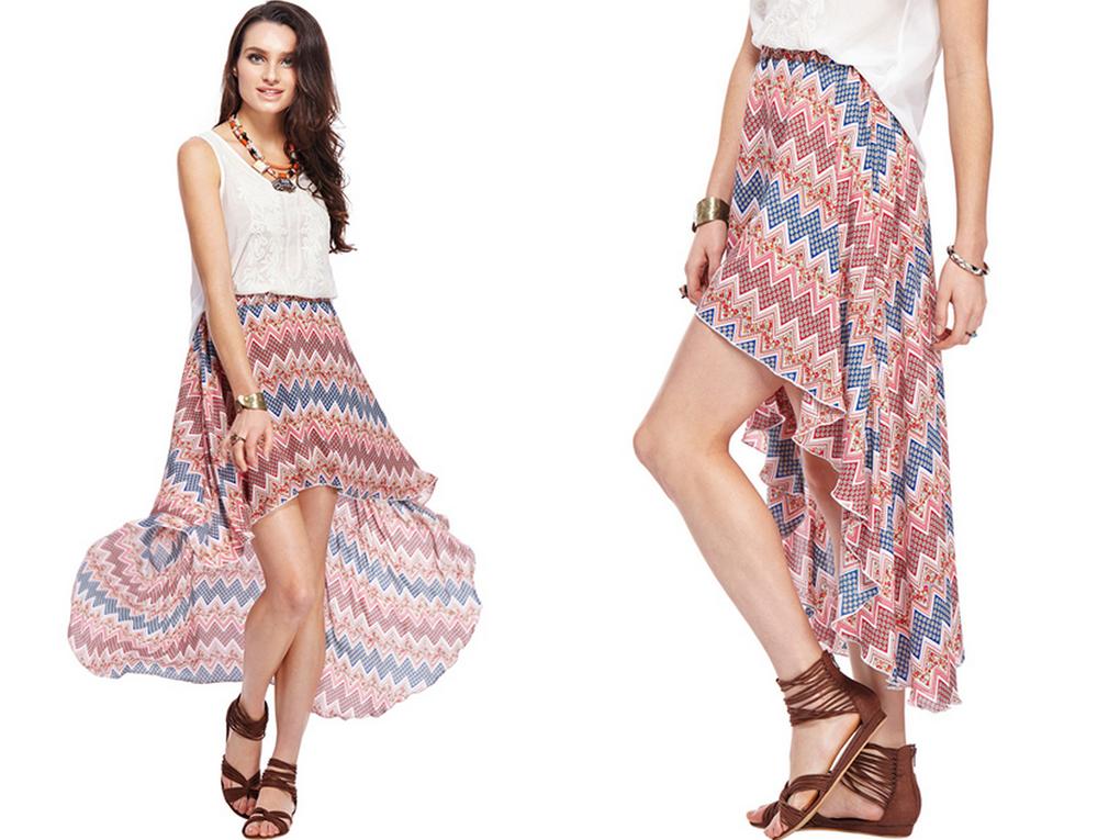 Asymmetric Swing Chiffon Skirt
