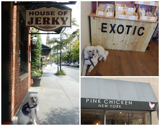 Carma in front of the House of Jerky and the Pink Chicken