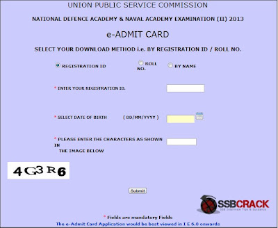 NDA and NA Examination (II) 2013 eAdmit Card