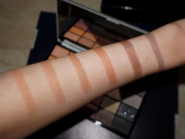 first row swatches with flash Life on the dancefloor Afterparty palette by makeup revolution