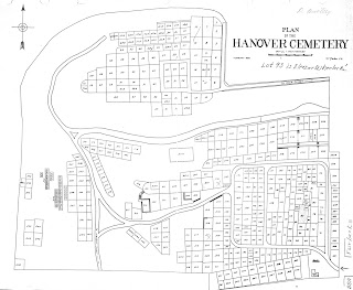 A drawn plot of the Hanover Cemetery.
