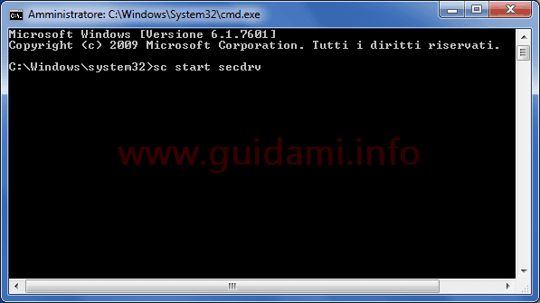 Prompt dei comandi Windows 7