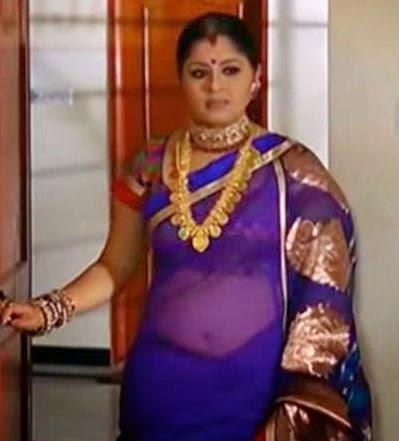 Sudha Chandhran hot navel show in blu saree ~ kerala hot actress