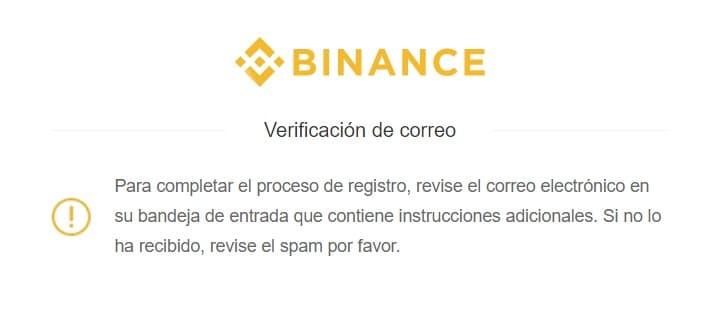Confirmar dirección correo registro Binance