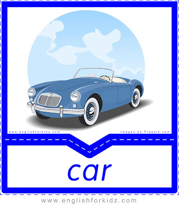 English flashcard, transportation vocabulary, car