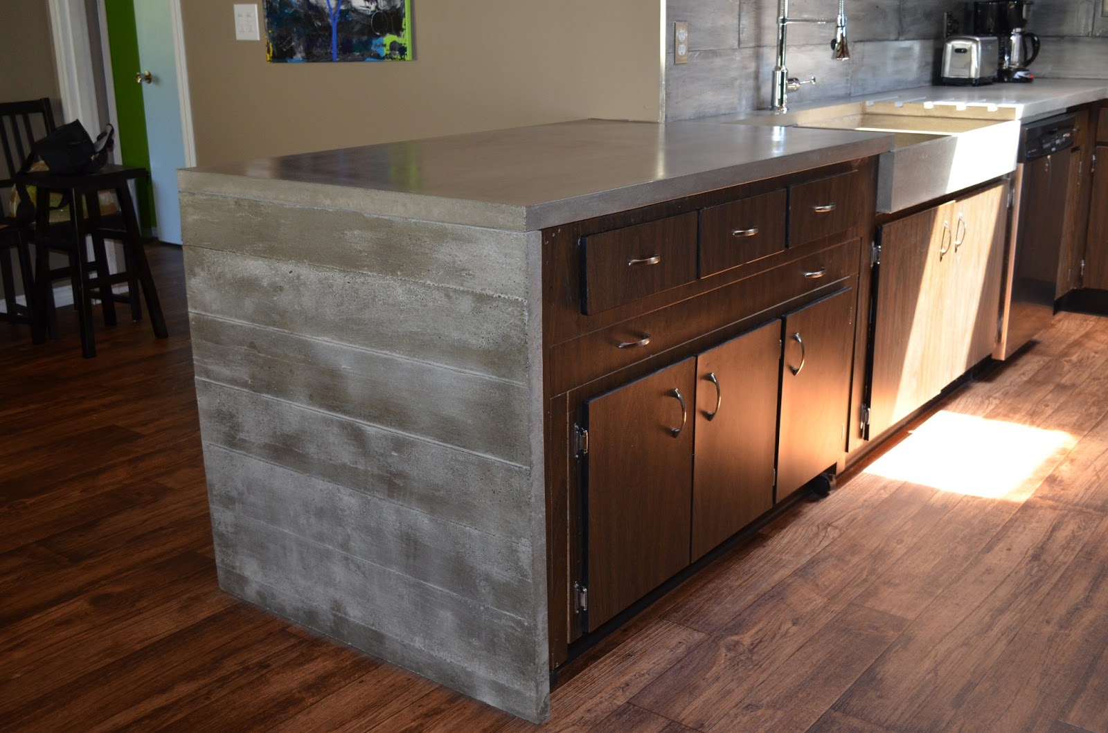 Modern Contemporary Concrete Kitchen Waterfall Countertop