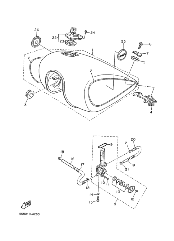 Yamaha Virago: Spremnik goriva