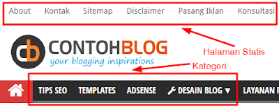 Navigasi Menu Blog di Header