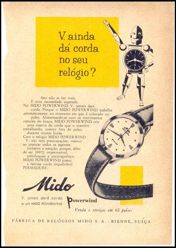 Propaganda do Relógio Mido, onde não era mais preciso dar corda para que funcionasse