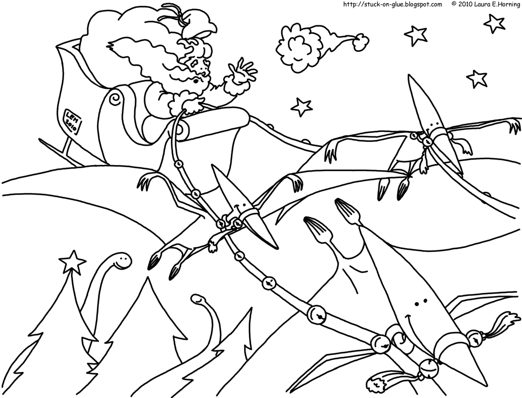 Give Your Octopus A Paintbrush Or 8 Coloring Pages Dinosaur Christmas