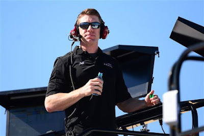 Newly Retired Driver Carl Edwards looks on during a NASCAR testing at PIR.