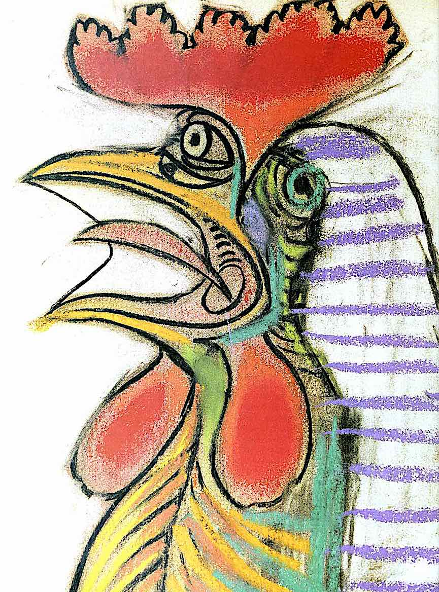 Picasso's rooster image in color