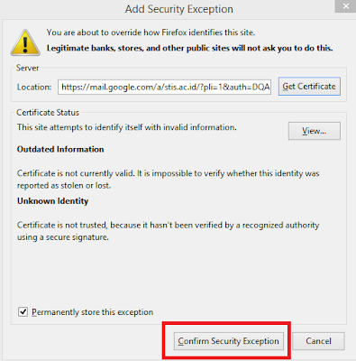 "Pilih ""Confirm security Exception"""
