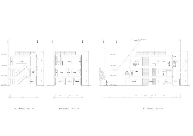 鈍い光沢を放つ金属板のなかに雲のような広がりを持つ家 3階内部空間のイメージ 断面計画