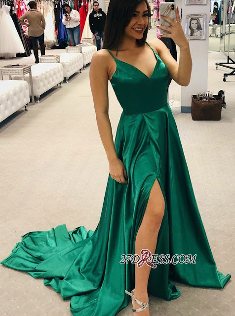 Simple V-Neck 2019 Prom Dress | Long Evening Party Gowns With Slit