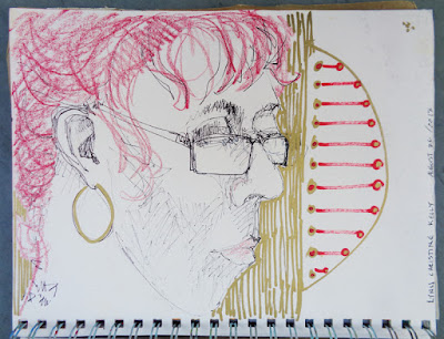 Portrait of Lynn Christine Kelly, oil paint marker in 9x12 sketchbook