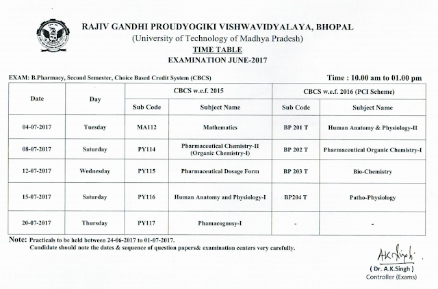 RGPV B.Pharmacy 2nd Semester CBCS Examination Time Table