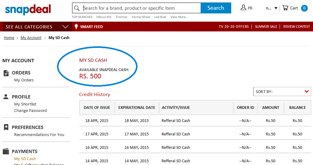 Snapdeal Appshare Offer Rs.500 earning proof nkworld4u.blogspot.in