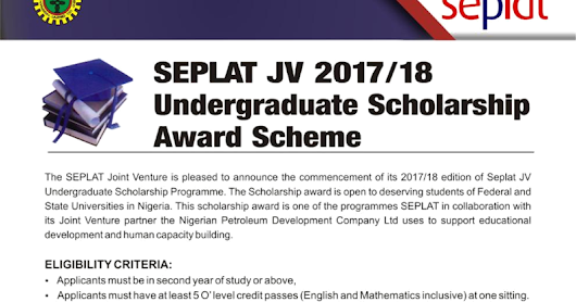 Apply For 2017/2018 SEPLAT/NNPC Scholarship